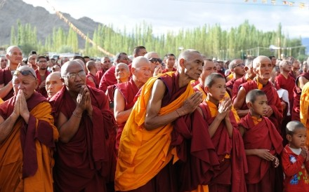 Monks waiting for Dalai Lama Leh